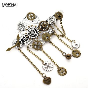 Japanese hair Accessories Handmade Punk Gears Chain Tassels Hair Clip Gothic Steampunk Punk Hairpin Vintage