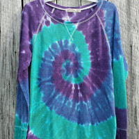 Women's Tie Dye Thermal,  Women's Large (12/14), Purple Blue and Green Spiral Long Sleeve, Hippie Shirt