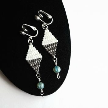 White And Pewter Color Clip-on Earrings For Non Pierced Ears