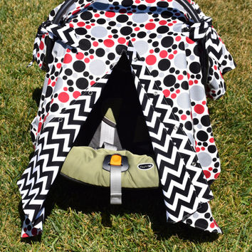 Unisex Infant Car Seat Canopy / Infant Car Seat Cover / Snaps Open & Closed / Red Grey Black Polka Dots with Chevron Print