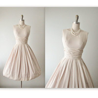 50's Summer Dress // Vintage 1950's Ecru Cotton Full Garden Party Day Dress XS