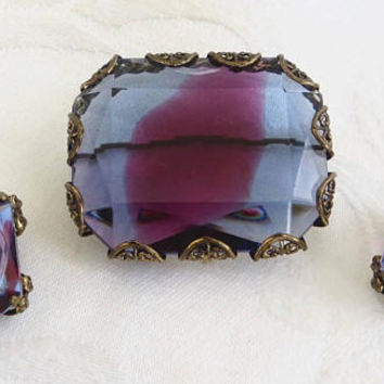 Vintage Art Glass Brooch Set, Filigree Setting, Clip Earrings, Watermelon Stones, Vintage West Germany Jewelry