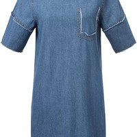 Blue Short Sleeve Fringe Denim Dress