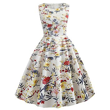 1950s Floral Inspired Swing Dress