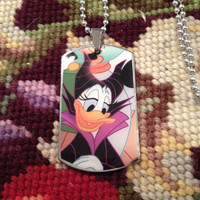 Disney's Daisy Duck as Malificent Silver Dog Tag Necklace