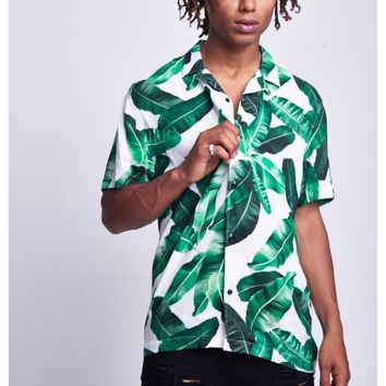 PALM PRINT SHIRT - JADED