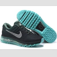NIKE' Trending Fashion Casual Sports Shoes AirMax section Black Silver hook Green sol