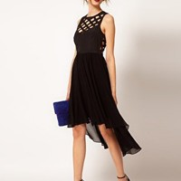 Warehouse Cutwork Hi Lo Dress at asos.com