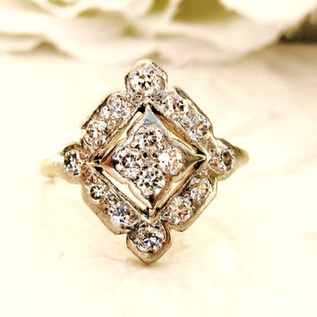 Antique Engagement Ring Unique Star Design 0.52ctw Old Cut Diamond Wedding Ring Platinum & Yellow Gold Filigree Art Deco Engagement Ring!