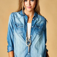 Blue Button Up Chambray Shirt