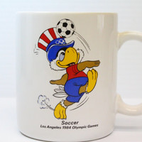 OLYMPIC EAGLE Soccer Mug, Vintage Sam The Olympic Eagle Mascot Cup, Vintage coffee cup, 1984 Los Angeles Olympics mug, soccer mug,soccer cup