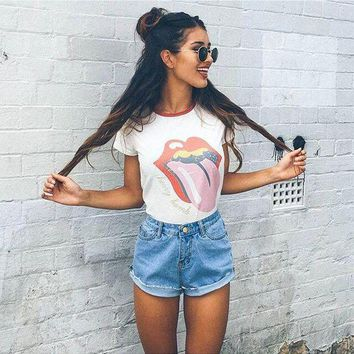 CUPCUPST Women Fashion Casual Red Lips Letter Pattern Print Short Sleeve T-shirt Tops