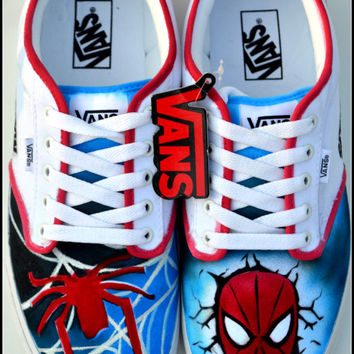 Custom Mens Shoes, Custom Spiderman Shoes, Painted Spiderman Shoes, Mens Vans, Spiderman Vans, Custom Sneakers, Spiderman Shoes, Spiderman