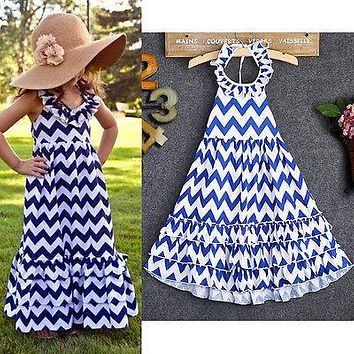 Summer Girl Dress wave Striped Kids long Dresses For Girls Party Princess fancy dress for Children Birthday Party Gown