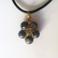 Handmade Larvikite Pentacle Pendant. Gold Plated Pentagram, Star Flower, Wire Wrap Pendant On Black Cord. Wiccan Jewellery, Sacred Geometry