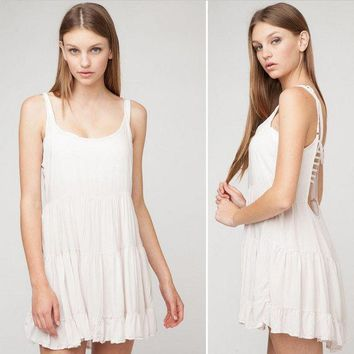 ICIKH3L Urban Outfitters' Fashion Solid Color Backless Sleeveless Strap Mini Dress
