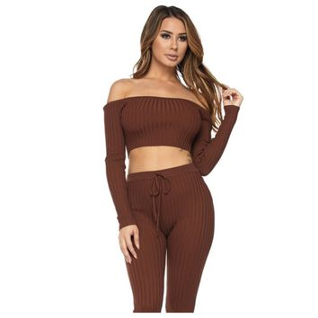Ribbed Love Me Co-Ord Set Chocolate