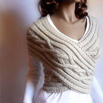 Hand knit  Cross Sweater Capelet Vest Neck warmer in pure new wool and alpaca blend Choose the color and size