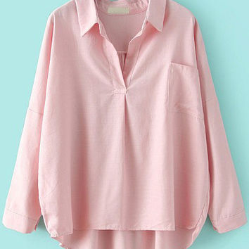 Pink Shirt Collar Long Sleeve Blouse