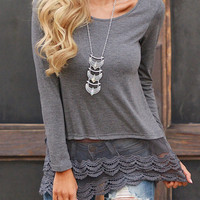 Grey Sheer Mesh Lace Hem Round Neck Slim Fit Tee