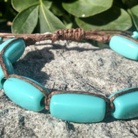 Faux Turquoise Dark Brown Adjustable Hemp Bracelet