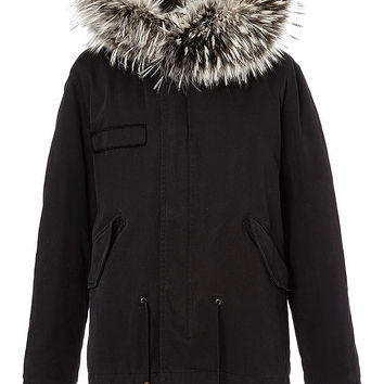 Mr & Mrs Italy Mini Black Parka With Black & White Silver Fox Fur