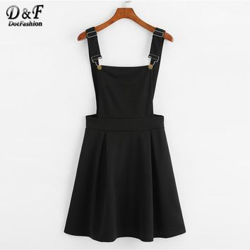 Dotfashion Button Pleated Zip Up Back Pinafore Dress Spring Fall Straps Sleeveless Dress Women Weekend Casual Short Dress