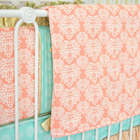 Chloe's Coral Damask Baby Bedding | Coral and Mint Blanket