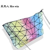 In 2017, the new rainbow color single shoulder bag folding and folding geometric package for leisure fashion bags