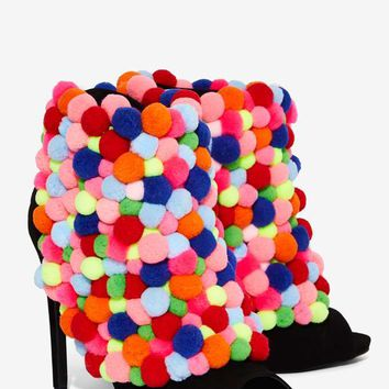 Privileged Rainbow Pom Pom Heel