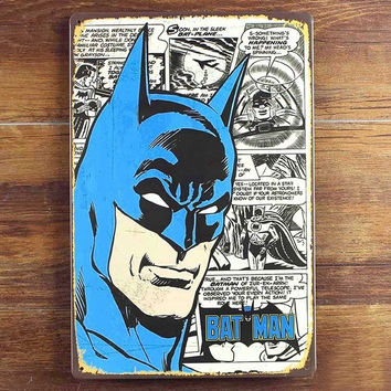 Batman Tin sign Vintage Metal Poster Picture Iron Painting Mural Bar Cafe Home Art Decor Cartoon Wall Stickers