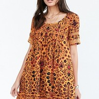 Ecote Amethyst Yellow Floral Dress - Urban Outfitters