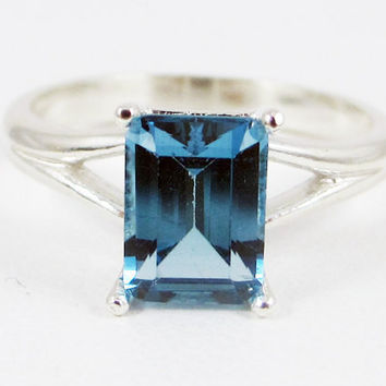 London Blue Topaz Emerald Cut Ring Sterling Silver 925, December Birthstone Ring, Emerald Cut Topaz Ring, London Blue Topaz Ring