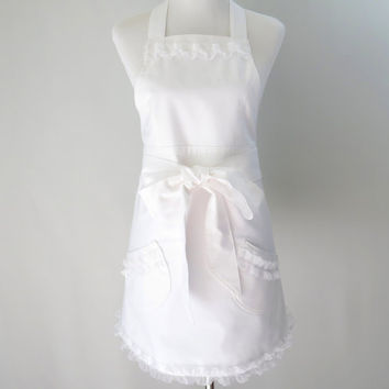 Womens White Apron, Ruffled, Lined, Bride, Wedding, Hostess, Bridemaids, Dressy, Feminine, Bridal Shower, Bachlorette Party, Gift for Her