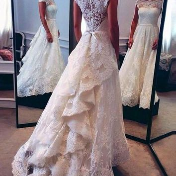 Vintage Lace Wedding Dresses 2017 Cap Sleeve A-Line Vestido De Noiva Com Renda Custom Made Bridal Gowns 2016