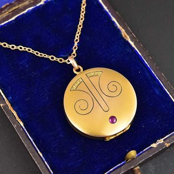 Antique 14K Gold Ruby Art Nouveau Locket Necklace aef4dba9f