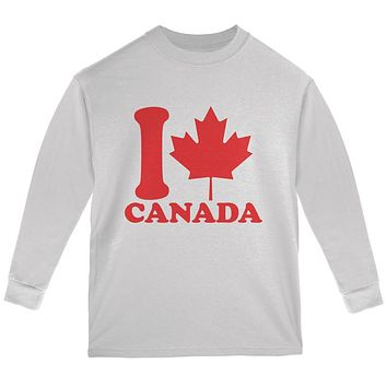 I Love Maple Leaf Heart Canada Youth Long Sleeve T Shirt