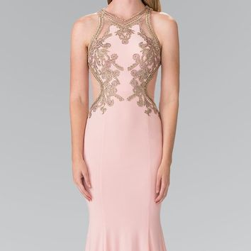 Elizabeth K - GL2321 Halter Long Gown with Side Cut Outs