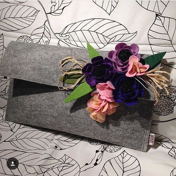 Felt Bag, Felt Clutch, Evening Bag, Party Bag, Gray Clutch, Handbag, Felt Handbag, Night Out Bag, Women's Clutch Bag, Gift for Her