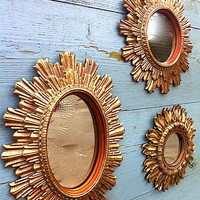 Set Of Three Small Gilt Mirrors