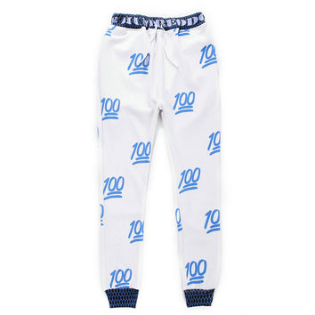 100 - Unisex 3D Printed Emoji Sweatpants Jogging Pants - White Blue