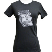 Writer's T-shirt - Typewriter print on Ladies T-shirt - (Available in S, M, L, XL)