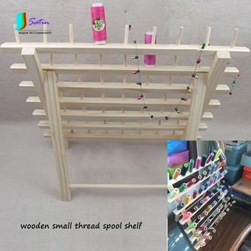 Small Thread Spool Storage Wooden Shelf 63 Positions,Home Handmade Patchwork Tool Small Size Wooden Wire Frame S0207L