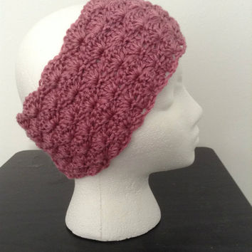 Vintage Dusty Rose Ear Warmer