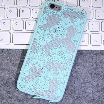 Womens Vintage Mint Lace iPhone 5S 6 6S Plus Case Solid Cover + Nice Gift Box 445