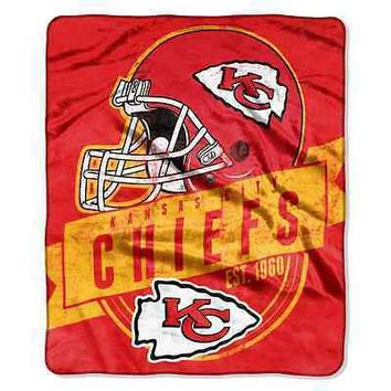 "KANSAS CITY CHIEFS 50""X60"" GRAND STAND PLUSH THROW BLANKET NEW  SHIPPING"