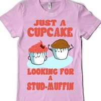 Cupcake Looking For a Stud Muffin-Female Light Pink T-Shirt