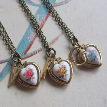 Personalized Letter Initial Vintage Heart Locket  Bridesmaids Gift Set, Bulk Listing with Discount Necklace Set of Three