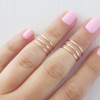 Thin rose gold ring - Stacking rings, Knuckle Ring, Rose gold shiny bands, Set of 6 stack midi rings, Gold jewelry, Rose gold accessories