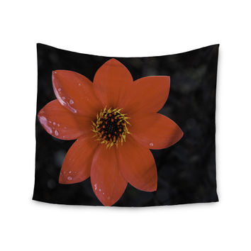 "Nick Nareshni ""Wet Red Flower Petals"" Red Black Wall Tapestry"